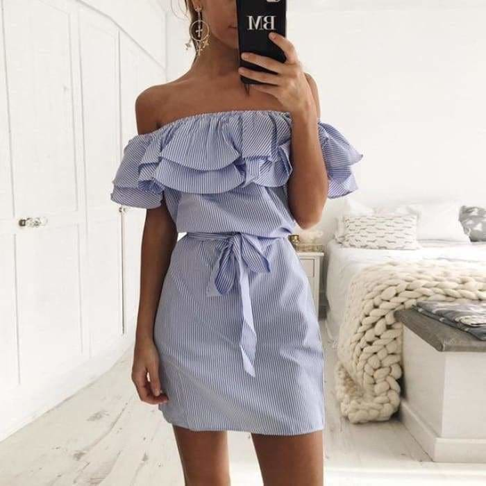 Striped Sashes Summer Dress Ruffle Collar 2019 Bandage Sundress - Blue / L - dress