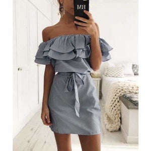 Striped Sashes Summer Dress Ruffle Collar 2019 Bandage Sundress - navy / XL - dress