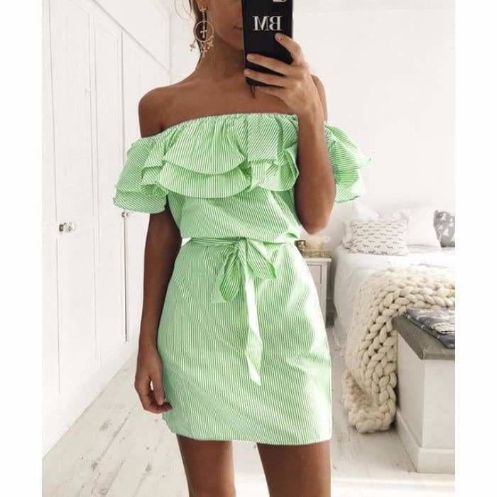 Striped Sashes Summer Dress Ruffle Collar 2019 Bandage Sundress - Green / L - dress