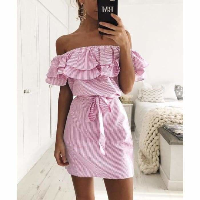 Striped Sashes Summer Dress Ruffle Collar 2019 Bandage Sundress - Pink / L - dress