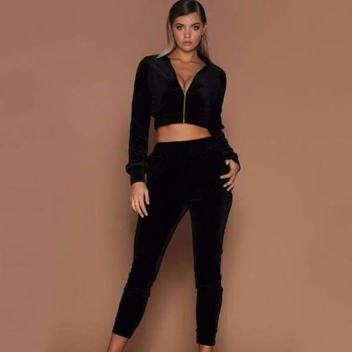 Summer Autumn Two Pieces Set Hoodie Top And Pant Tracksuit Women Set Elastic Waist Leisure 2 Piece Set Women Outfits - Black / L -