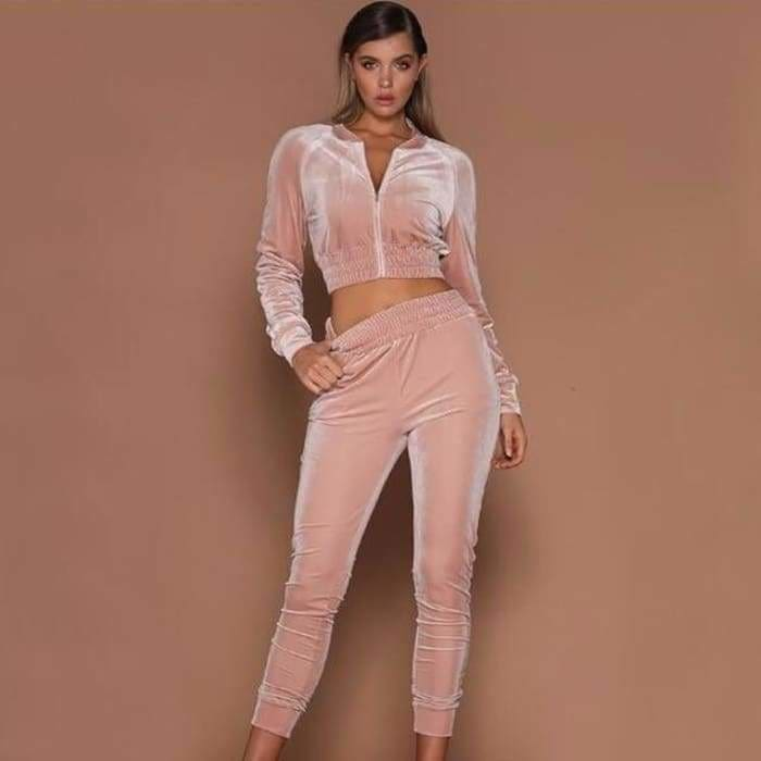 Summer Autumn Two Pieces Set Hoodie Top And Pant Tracksuit Women Set Elastic Waist Leisure 2 Piece Set Women Outfits - Pink / L - activewear