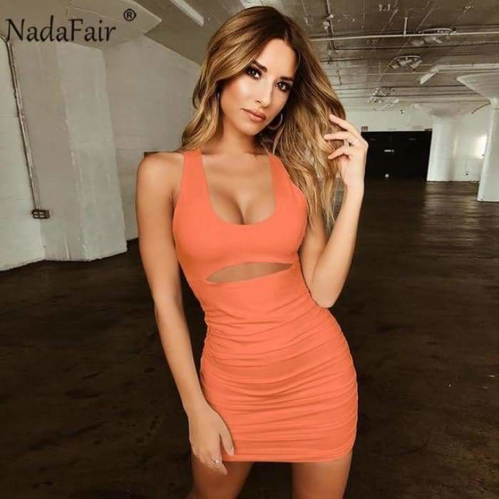 Summer Sexy Bandage Dress Women Backless Lace Up Bodycon Party Club Dress Vestidos Draped Mini Wrap Dress Robe Femme - Orange / L - dress