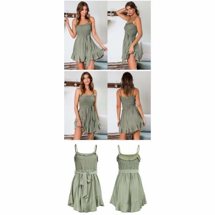 Summer Short Dress Women Backless Lace-Up Pleated Mini Party Dress Cotton - Bibra.Store