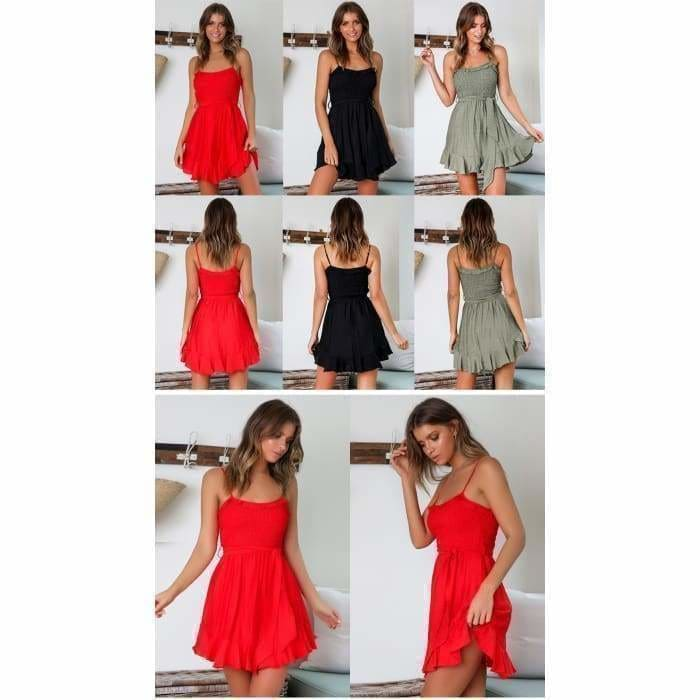 Summer Short Dress Women Backless Lace-Up Pleated Mini Party Dress Cotton - dress