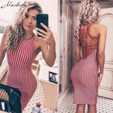 Summer Women Sexy sleeveless Back Lace White And Red Striped Women Dress - dress