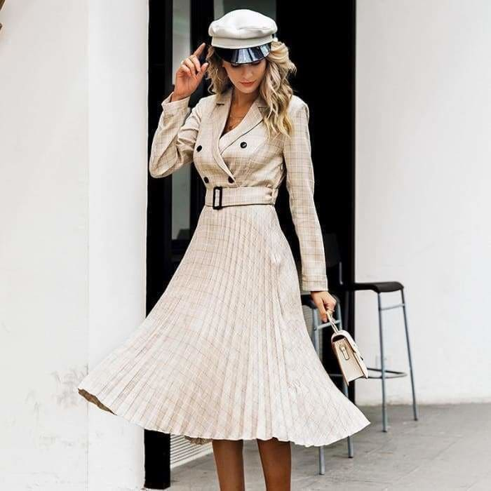 Vintage pleated belt plaid dress women Elegant office ladies blazer Long sleeve midi party dress - dress