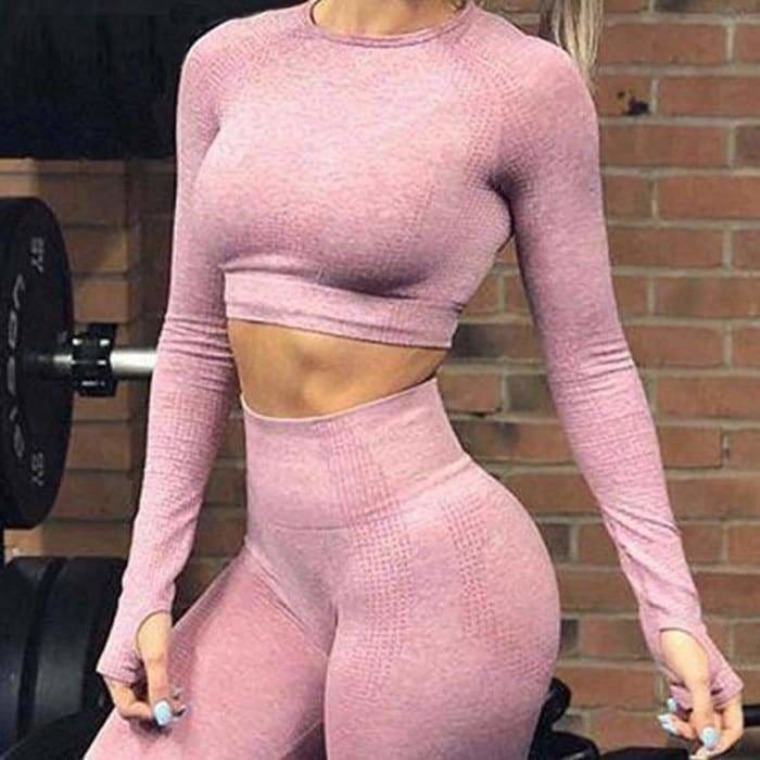 Vital seamless 2 piece yoga set workout clothes for women fitness gym clothing vital gym set long sleeve gym crop top - Bibra.Store