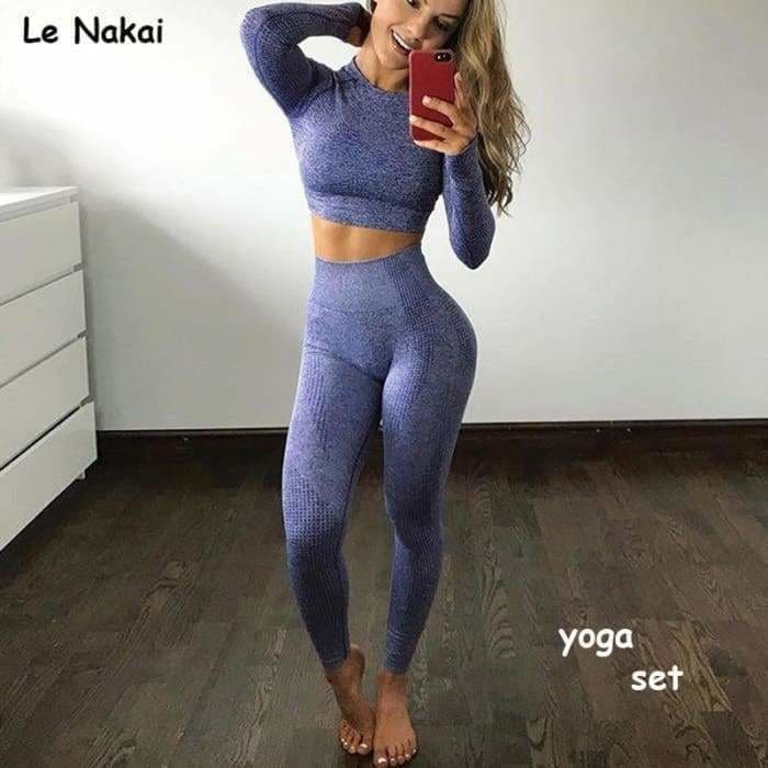 Vital seamless 2 piece yoga set workout clothes for women fitness gym clothing vital gym set long sleeve gym crop top - activewear