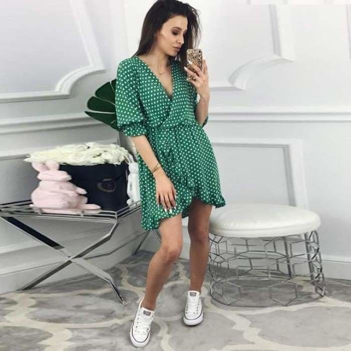 Women Dress Ruffles Print Polka Dot Sexy Bodycon Beach Female Half Sleeve Summer Party Mini Dress - Chin 16 / L / China - dress