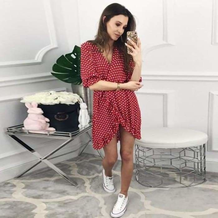 Women Dress Ruffles Print Polka Dot Sexy Bodycon Beach Female Half Sleeve Summer Party Mini Dress - Ch 8 / L / China - dress
