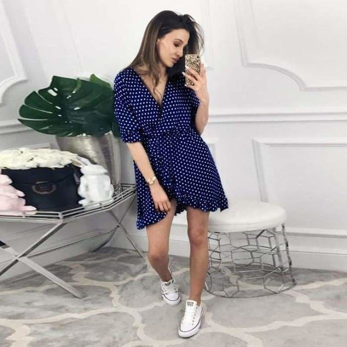 Women Dress Ruffles Print Polka Dot Sexy Bodycon Beach Female Half Sleeve Summer Party Mini Dress - China 12 / L / China - dress