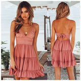 Women Lace Dress Sexy Backless V-neck Beach Dresses - Pink / S - dress