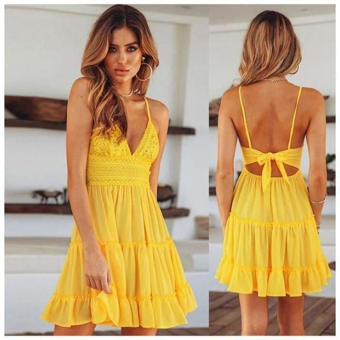 Women Lace Dress Sexy Backless V-neck Beach Dresses - YELLOW / S - dress