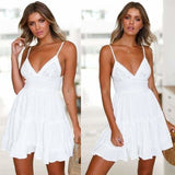 Women Lace Dress Sexy Backless V-neck Beach Dresses - WHITE / S - dress