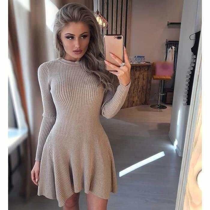 Women Long Sleeve Sweater Casual Autumn & Winter mini Dress Women - dress