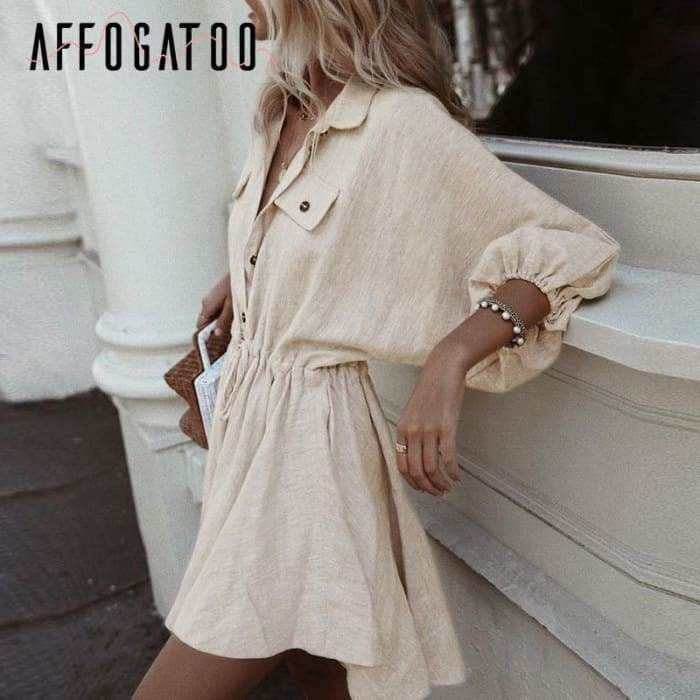 Women mini shirt Casual lantern sleeve short turn down collar lace up linen female dress - dress