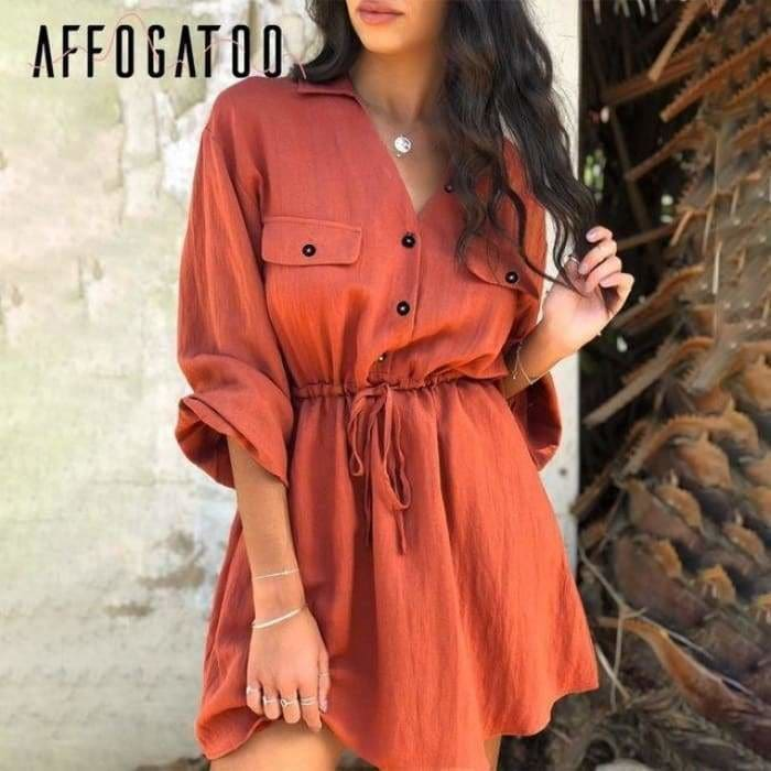 Women mini shirt Casual lantern sleeve short turn down collar lace up linen female dress - Brick red / S - dress
