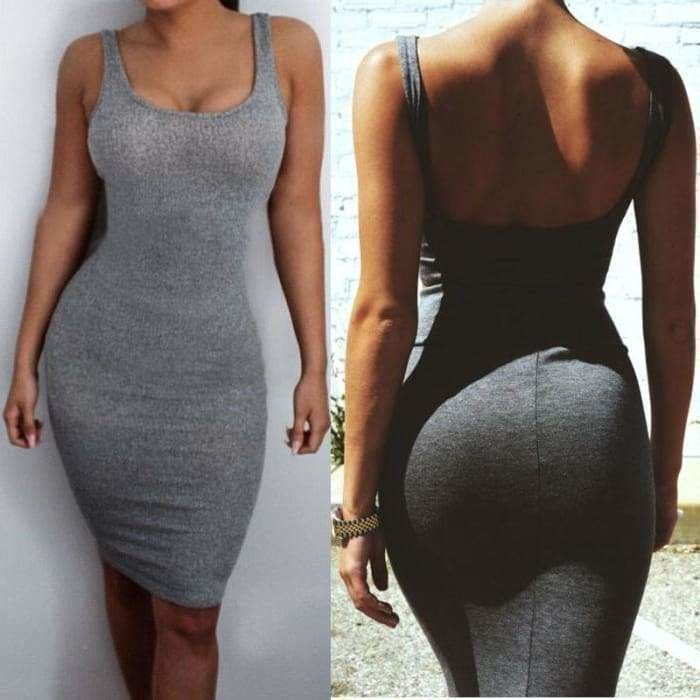Women Package Hip Dress Bandage Bodycon Mini Dress High Waist Slim Solid Gray Casual Dress - dress