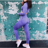 Women Seamless yoga set Fitness Sports Suits Long Sleeve Shirts High Waist Running Leggings - Purple set / S - activewear