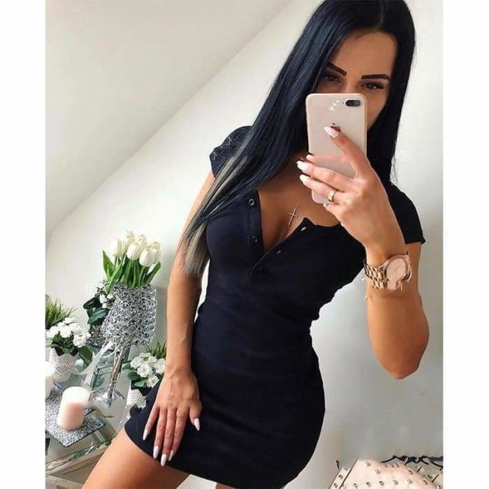 Women Sexy Casual Knit Sheath Solid V Neck Chest Button Short Sleeve Bodycon Dress - dress