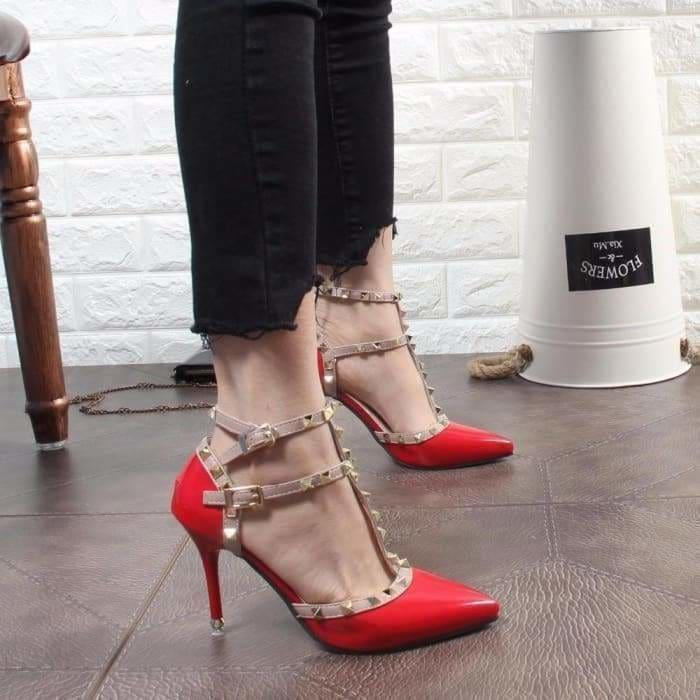 Womens Pu Leather High Heel Rivets Shoes Pointed Toe Hollow Up Stilettos