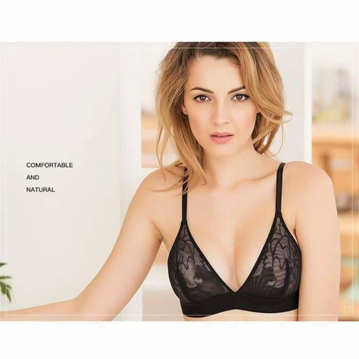 Women sexy underwear bra embroidery and lace bra transparent ultra-thin temptation push up Bra and lingerie set - lingerie