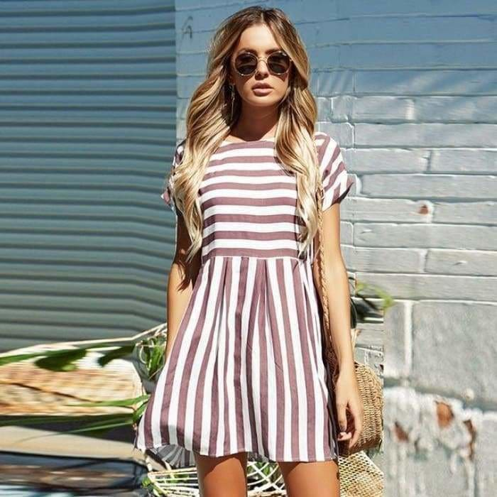 Women Summer Beach Dress A-Line Striped Short Sleeve O-Neck Print Dresses Casual Pink Mini Style Dress 2019 - Bibra.Store