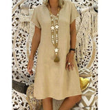 Women Summer Style T-shirt Cotton Casual Plus Size Ladies Casual Linen Dress - Bibra.Store