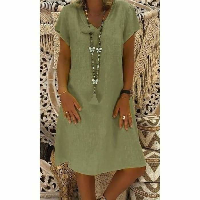 Women Summer Style T-shirt Cotton Casual Plus Size Ladies Casual Linen Dress - GN / XXL / China 164 - dress
