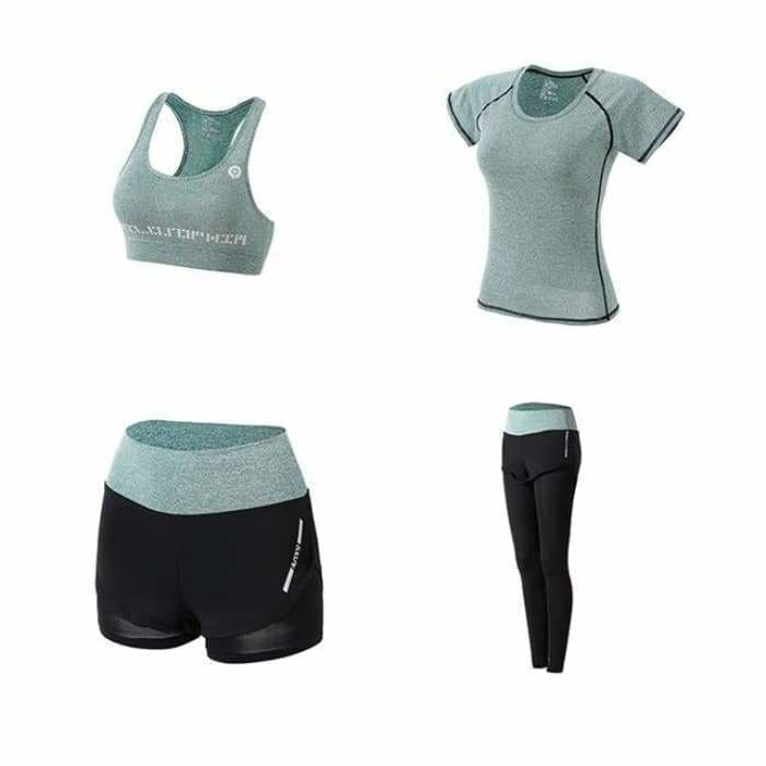 Women Yoga Sport Suit quick Dry Bra Set 5 Piece Female Short-sleeved shorts long pants Outdoor Sportswear Fitness suit - Green 4 piece set /