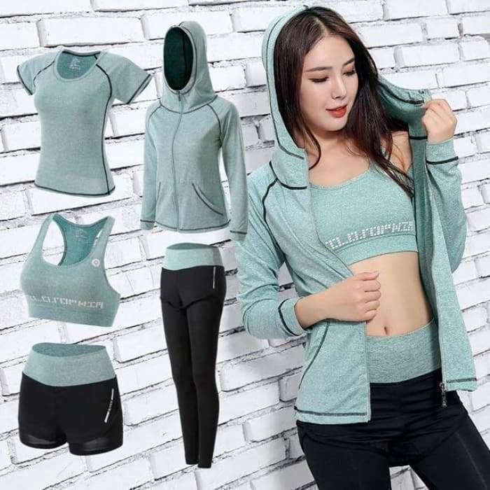 Women Yoga Sport Suit quick Dry Bra Set 5 Piece Female Short-sleeved shorts long pants Outdoor Sportswear Fitness suit - Green 5 piece set /