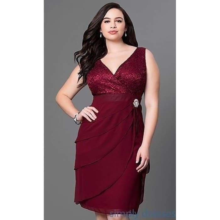Womens Fashion Plus Size V-neck Wrapped Chest Multi-layer Chiffon Patchwork Knee Length Dress ZH5676 - Dress