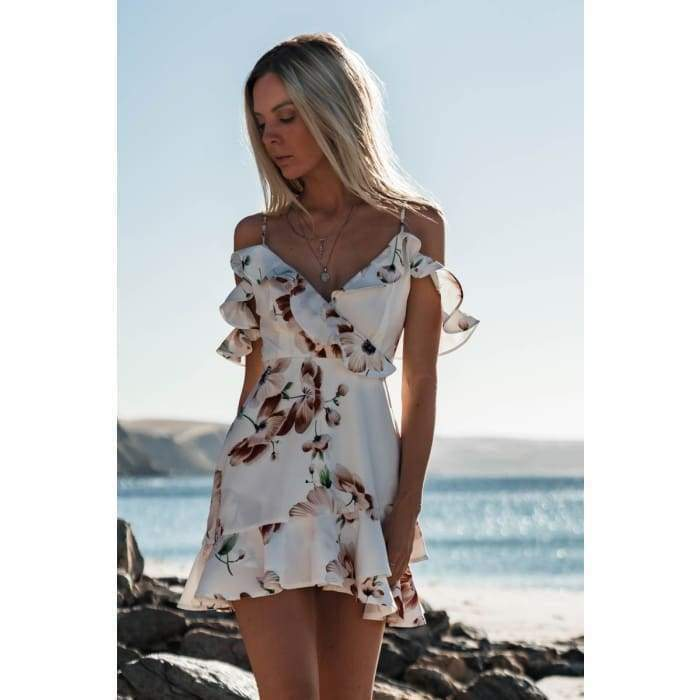 Women's Floral Chiffon Short Mini Off Shoulder Dress - Bibra.Store