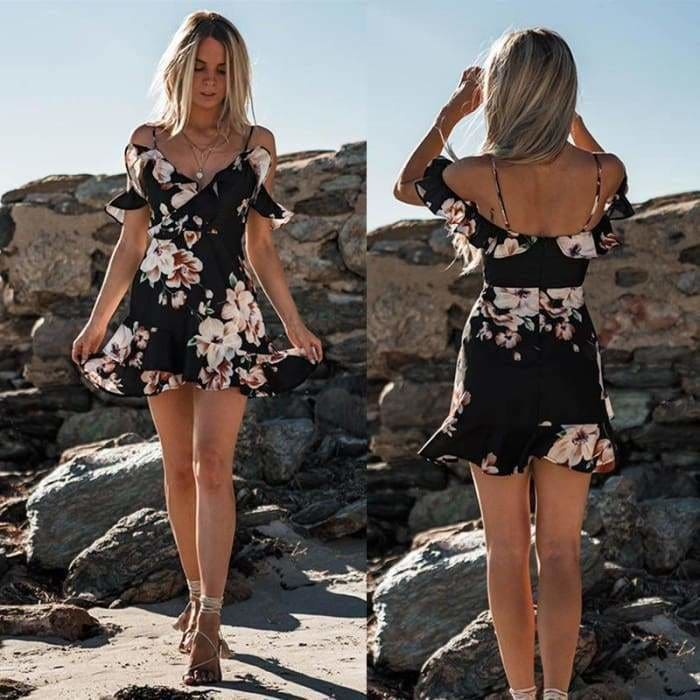 Womens Floral Chiffon Short Mini Off Shoulder Dress - dress