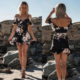 Womens Floral Chiffon Short Mini Off Shoulder Dress - Black / S - dress
