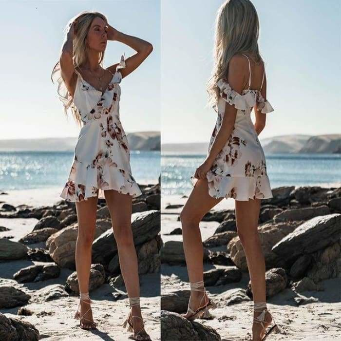 Womens Floral Chiffon Short Mini Off Shoulder Dress - WHITE / S - dress