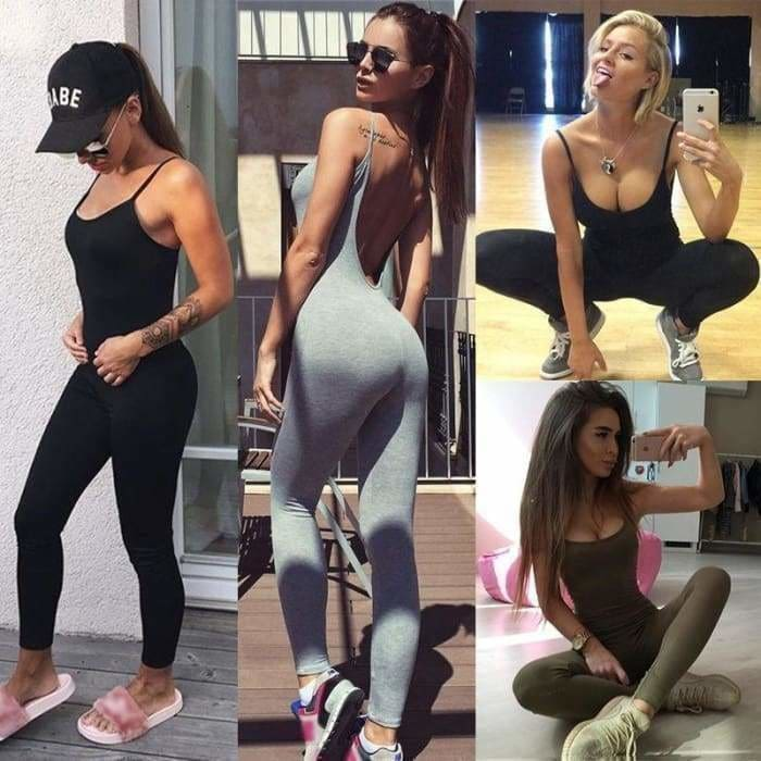 Womens Jumpsuit Sexy Bodycon Wear Hot Backless Summer Jumpsuit Clothes - Black / S - rompers