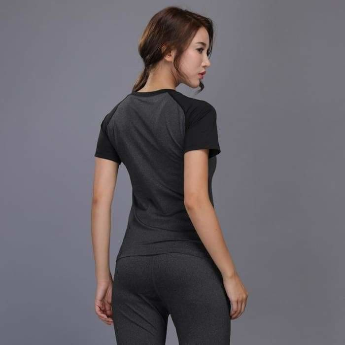 Womens sportswear Yoga Sets Jogging Clothes Gym Workout Fitness Training Yoga Sports T-Shirts+Pants Running Clothing Suit - activewear