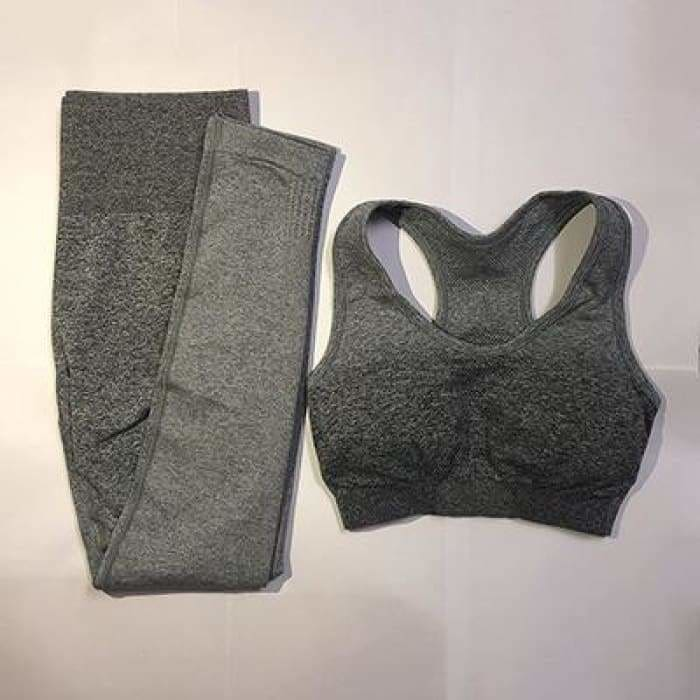 Womens Yoga Set Gym Clothing Seamless Leggings+Sports Bra Workout Sports Suit - gray / S - activewear