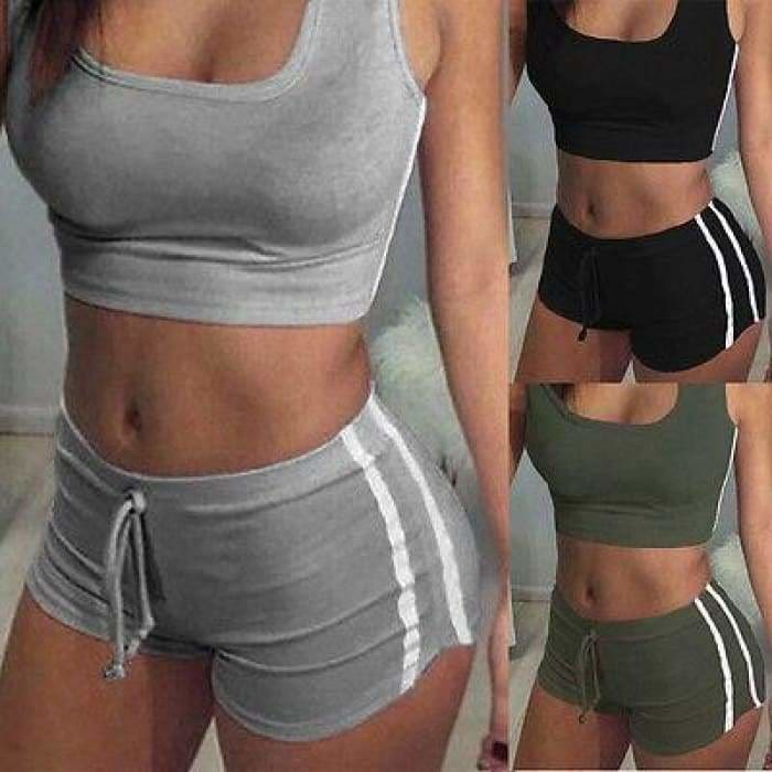Yoga 2pcs Women Belt Suit Set Padded Bra Sleeveless Tops+Belt Shorts Fitness Running Yoga Gym Sports - Gray / S - activewear