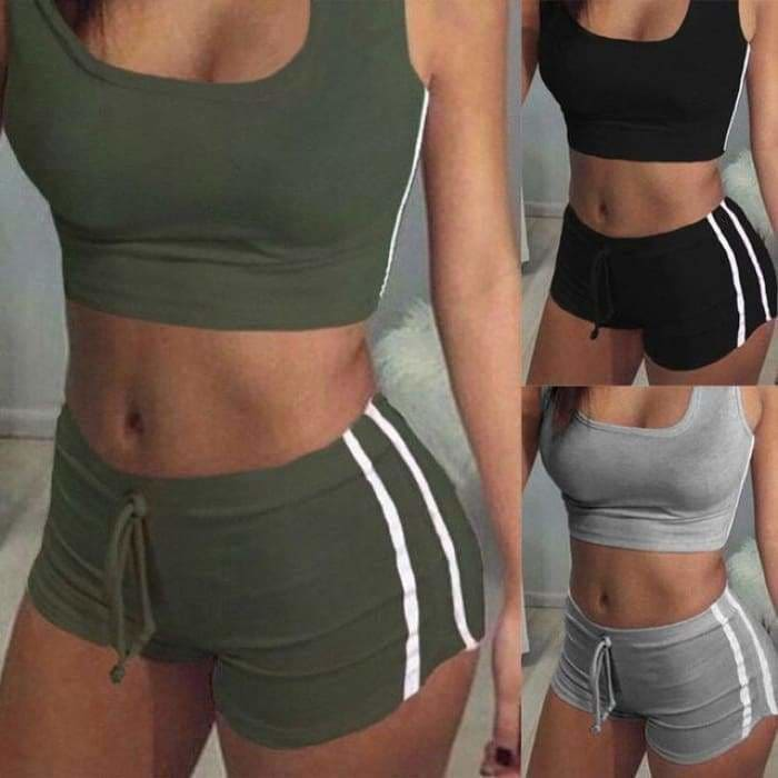 Yoga 2pcs Women Belt Suit Set Padded Bra Sleeveless Tops+Belt Shorts Fitness Running Yoga Gym Sports - Green / S - activewear