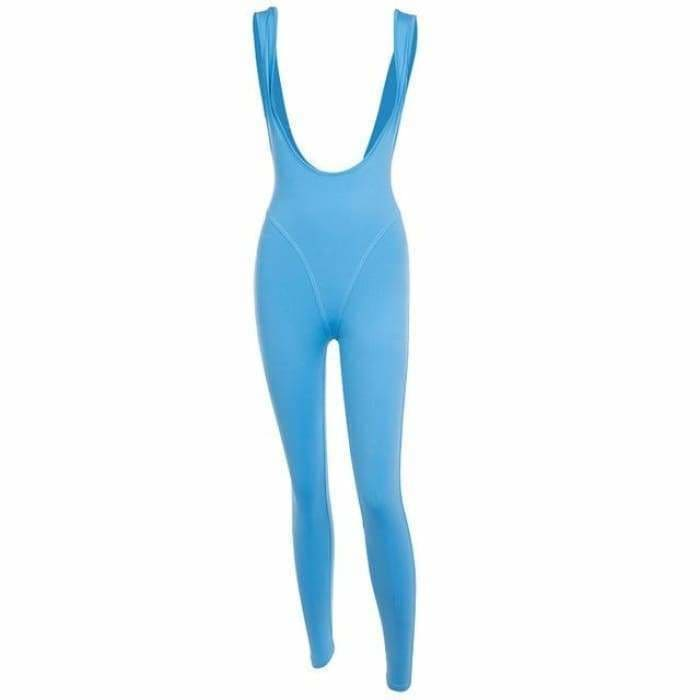 Yoga Sport Jumpsuit 2019 Sports Wear for Women Workout Clothes Dry Fit Gym Woman Sportswear Blue Black Fitness Overalls S - Blue / S -