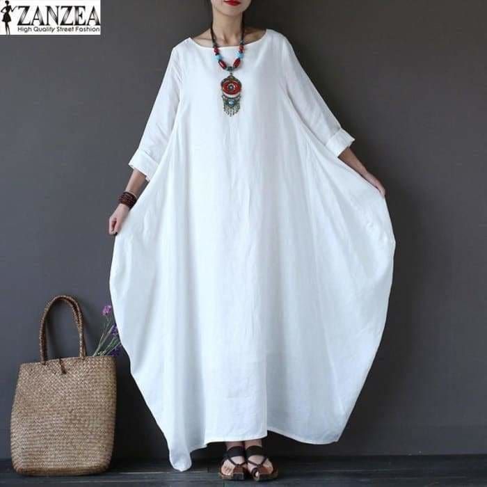 ZANZEA 2018 Women Oversized Round Neck Casual Loose Maxi Long Shirt Dress Vintage Female 3/4 Sleeve Kaftan Robe Vestido - kaftan