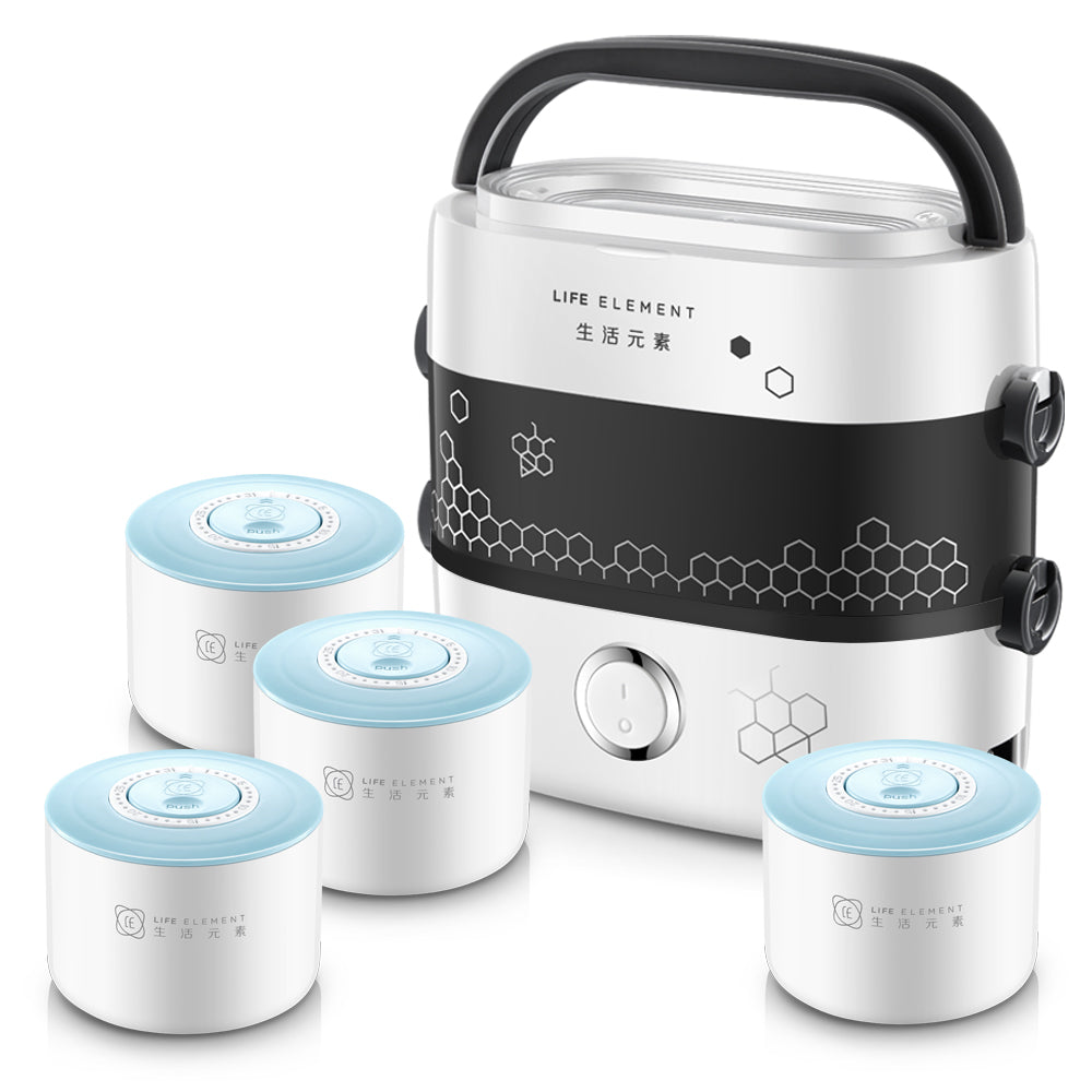 Life Element F1517 1.5L Electric Lunch Box/ Mini Rice Cooker/ 2-Layer with 4 0.37L Ceramic Bowls/ SG Plug/ English Manual/ 1 Year SG Warranty