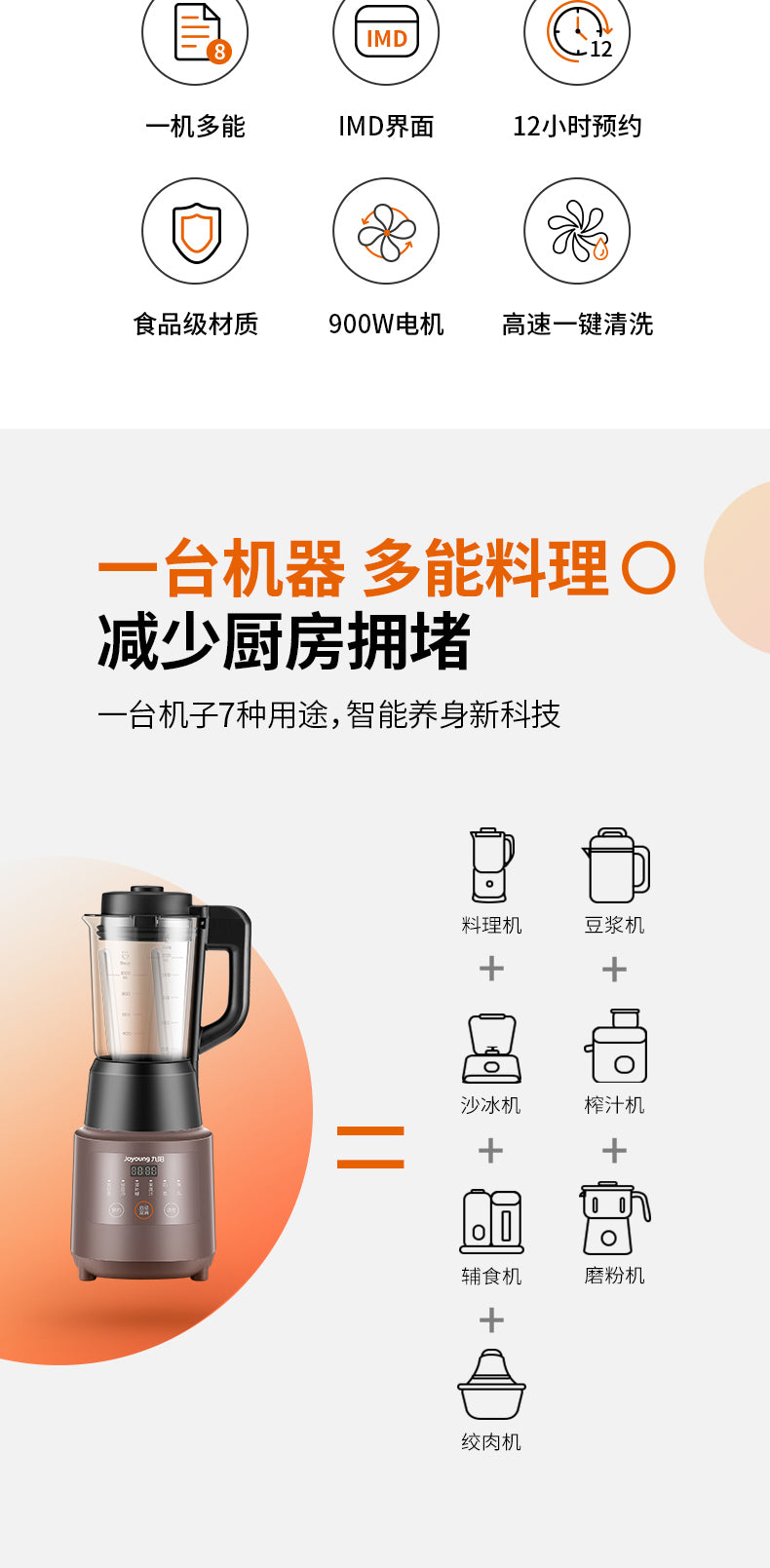 Joyoung L12-Energy61 High Speed Blender/ Hot and Cold/ 32000r/min / 3-pin SG Plug/ 1 Year SG Warranty