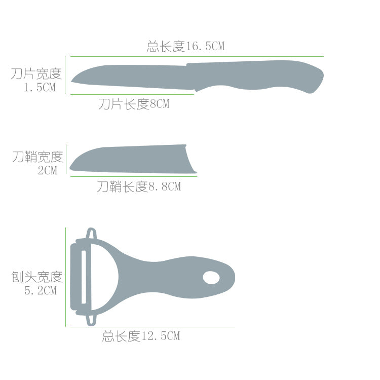 Free No. 3/ Mini Ceramic Knife/ 2 Pcs Set/ Random Color