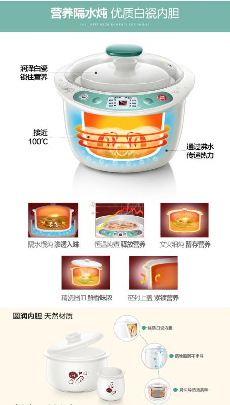 小熊/Bear DDZ-125TB 2.5L 4 Pots (1×2.5L+3×0.5L) Slow Cooker/ SG Plug/ 1 Year SG Warranty