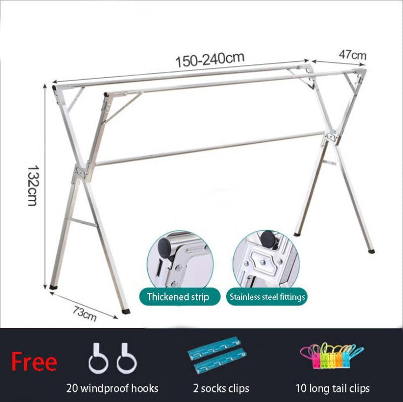X-beam (1.5m to 2.4m) Clothes Laundry Drying Rack Retractable Stainless Steel Space Saving Storage/ With Wheels