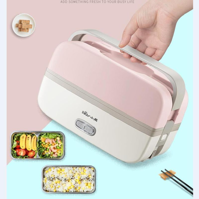 Bear DFH-B10J2 1L Electric Lunch Box/ Mini Rice Cooker/ 2-Layer with 2 Bowls/ SG Plug/ English Manual/ 1 Year SG Warranty